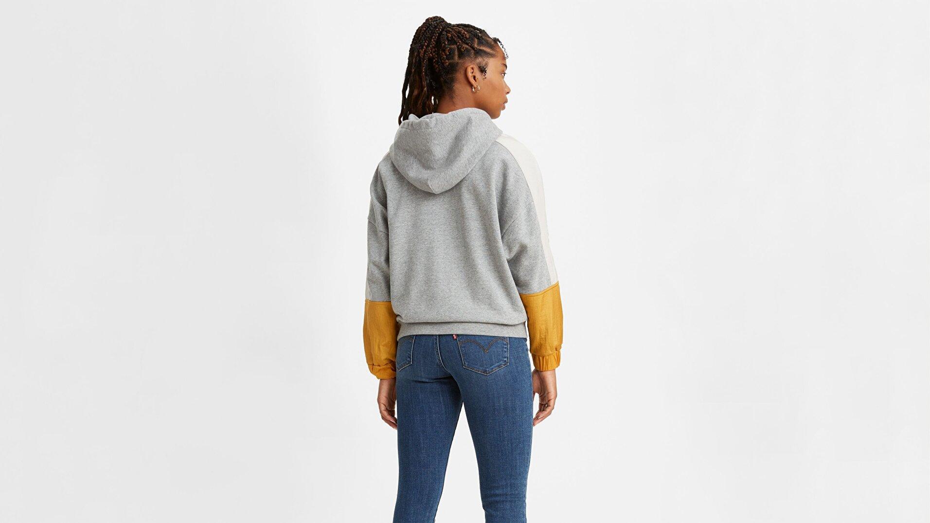 Leo Cb Hoodie Linear Logo Sarı Kadın Kapüşonlu Sweatshirt
