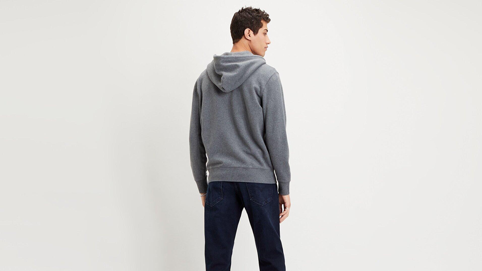 New Original Zip Up Charcoal Heather Gri Erkek Kapüşonlu Sweatshirt