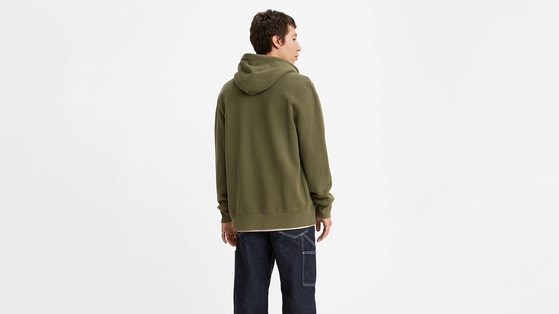 Original Erkek Yeşil Fermuarlı Kapüşonlu Sweatshirt