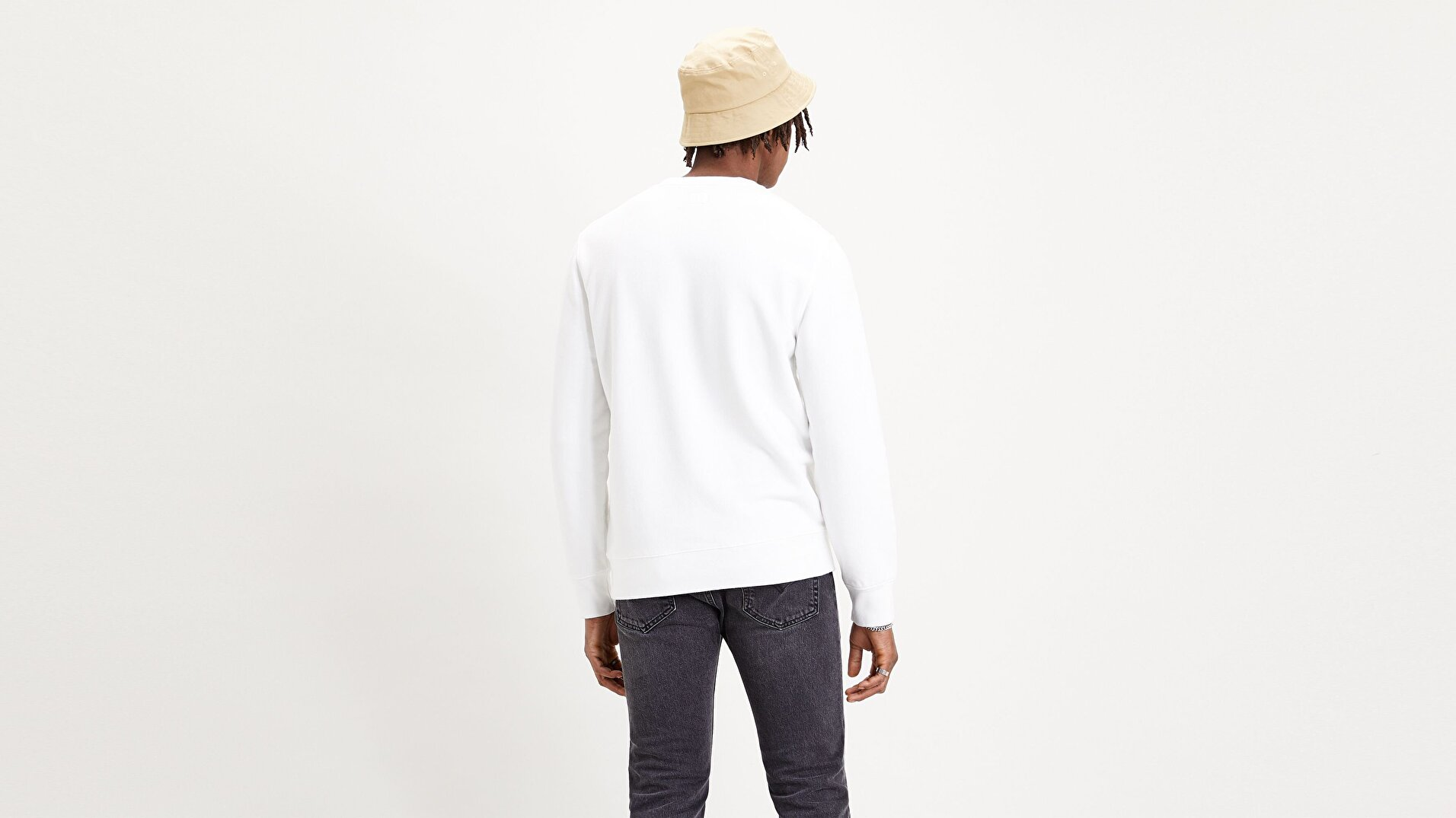 New Original Crew Beyaz Erkek Sweatshirt