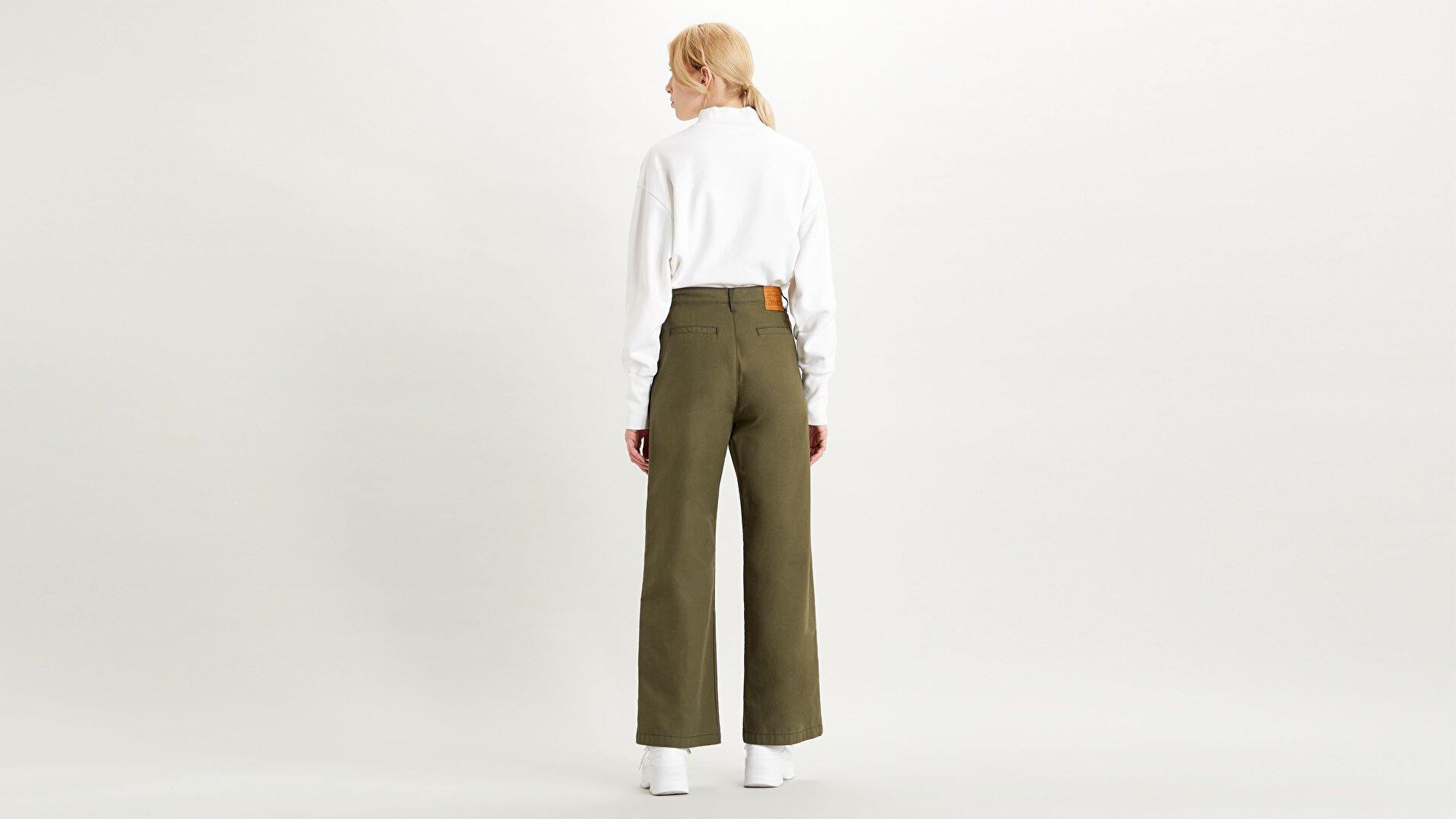 Pleated High Loose Kadın Khaki Pantolon-Crisp Twill  Night