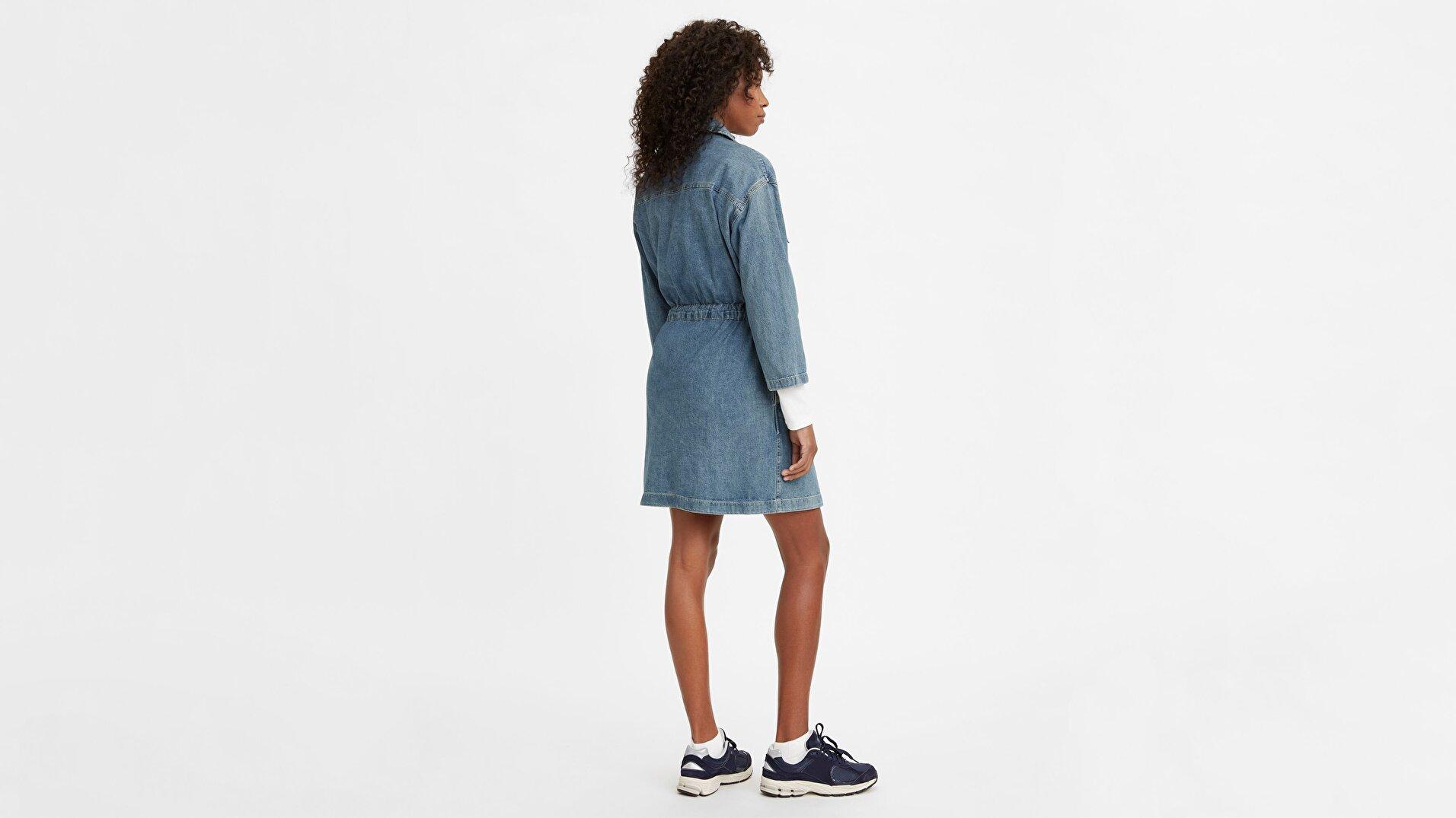 Ainsley Utility Denim D Freaky Friday Orta İndigo Kadın Elbise