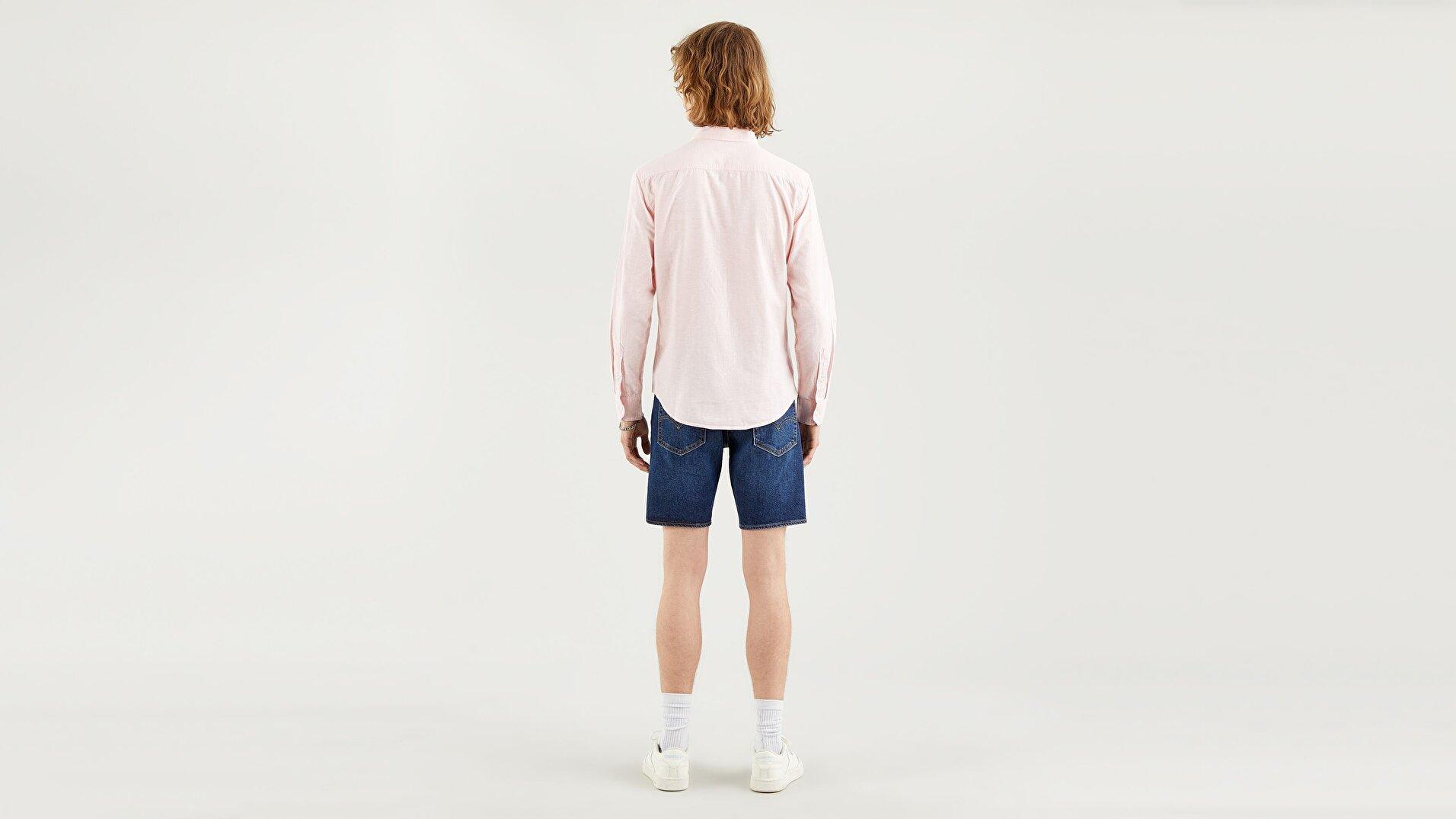 Sunset 1 Pkt Slim Powder Pink Koyu Mavi Erkek Gömlek