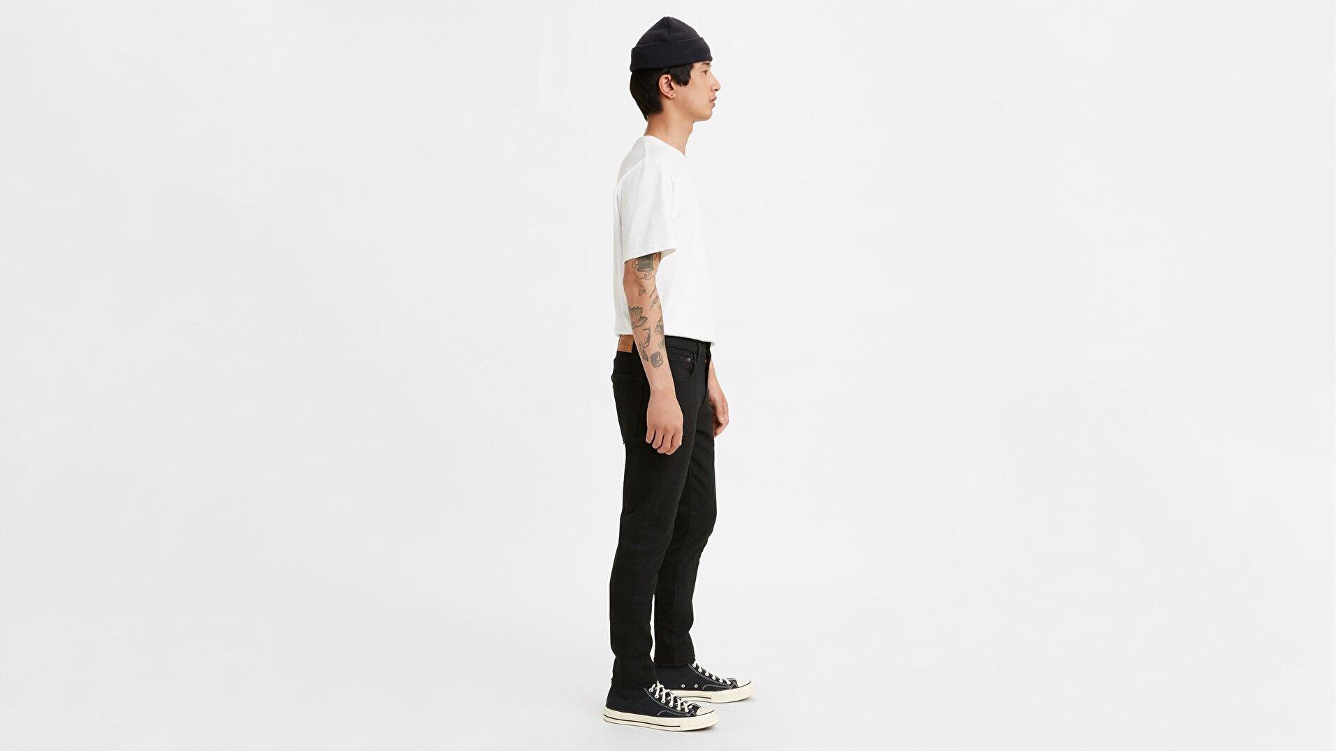 Skinny Taper Erkek Jean Pantolon Black Leaf