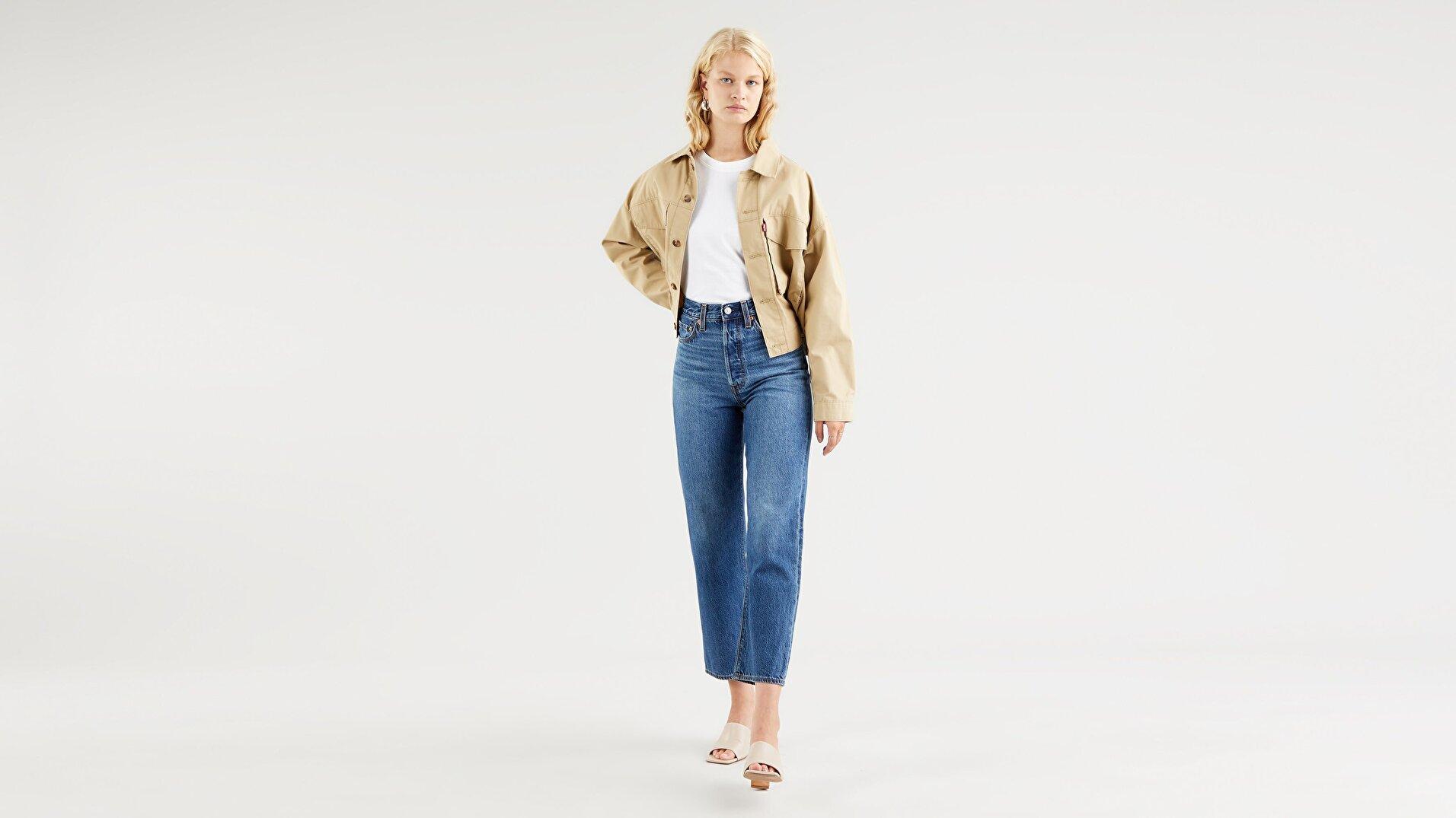 Ribcage Straight Ankle Kadın Jean Pantolon-Noe Fog