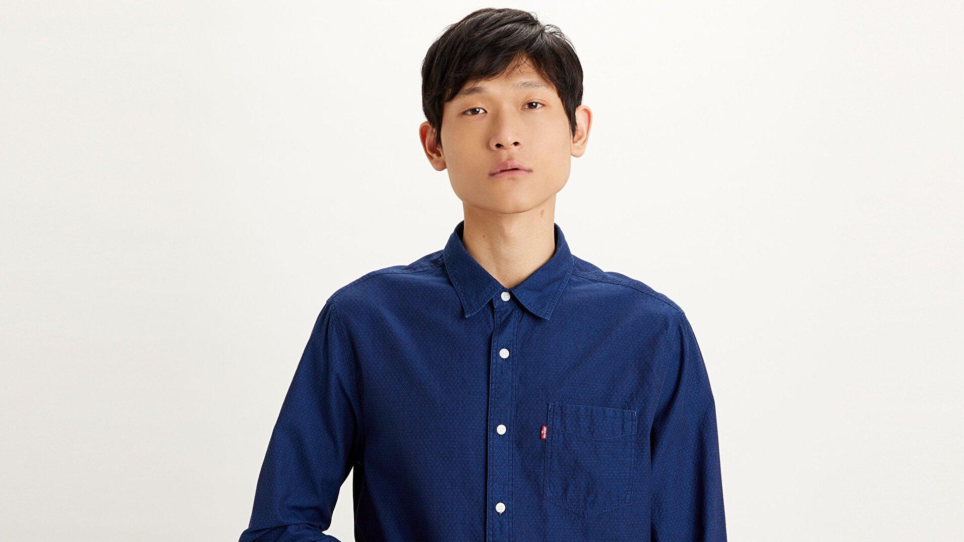 Sunset 1 Pocket Standard Erkek Denim Gömlek - İndigo Dobby