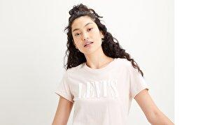 The Perfect Tee Serif Logo Sepia Kadın Pembe Tişört