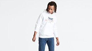 Levi's® Graphic PO Hoodie B 90S Logo Text Whit Erkek Kapüşonlu Beyaz Sweatshirt