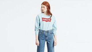 Levi's® Relaxed Graphic Crew HSMK Crew Baltic S Kadın Mavi Sweatshirt