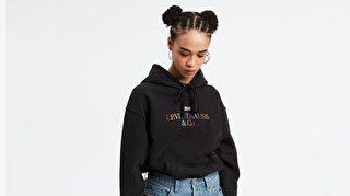 'Unbasic' Hoodie 90S Text Siyah Kadın Kapüşonlu Sweatshirt