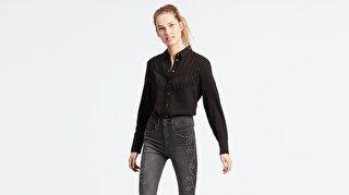 Levi's® Selita Western W/ Fringe Meteorite Kadın Siyah Gömlek