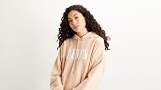 Graphic 2020 Hoodie Serif Logo Beyaz Kadın Kapüşonlu Sweatshirt
