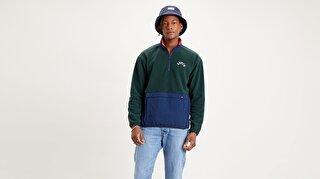 Quarter Zip Polar Fleece Varsity Color Block Çok renkli Erkek Sweatshirt